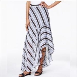 Ultra Fem Striped Asymmetrical Maxi Skirt